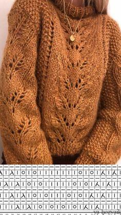 Модный вязаный пуловер спицами с центральным узором. Схема вязания пуловера спицами Easy Sweater Knitting Patterns, Knitting Paterns, Lace Knitting, Knitting Designs, Knitting Help, Vogue Knitting, Kreative Jobs, Knit Sweater Outfit, How To Purl Knit