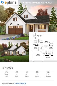 Check out this small house design with modern farmhouse style. You can go crazy with farmhouse decor in this cool plan. Call 1-800-528-8070 today. #architect #architecture #buildingdesign #homedesign #residence #homesweethome #dreamhome #newhome #newhouse #foreverhome #interiors #archdaily #modern #farmhouse #house #lifestyle #design