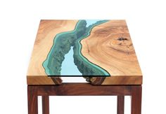 Gorgeous Topographic Coffee Table – Wood Furniture Embedded with Glass Rivers and Lakes by Greg Klassen