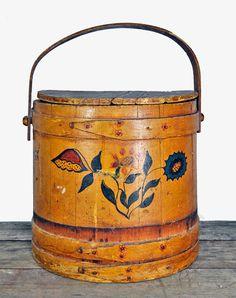 1940's Folk art wooden vintage basket and lid by upscaleyardsale, $75.00