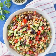Mediterranean Chickpea Salad (Vegan) - Simply Whisked Greek Chickpea Salad, Mediterranean Chickpea Salad, Mediterranean Diet Recipes, Couscous Salad, Quinoa Salad, Diet Salad Recipes, Chickpea Salad Recipes, Garbanzo Bean Salads, Healthy Salads