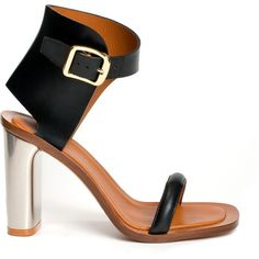 Black leather sandal (16 180 UAH) ❤ liked on Polyvore featuring shoes, sandals, heels, women, buckle sandals, black heel sandals, high heel sandals, famous footwear and high heel shoes