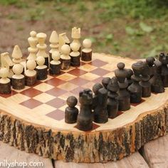 Rustic Wood Log Chess Set by Andrew Lund