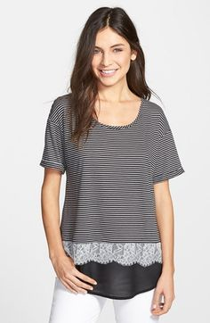 Bobeau Lace Trim Layered Look Tee | Nordstrom