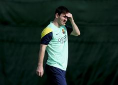 Barcelona's Argentinian forward Lionel Messi takes part in a training session at the FC Barcelona Sports Center Joan Gamper in Sant Joan Despi, near Barcelona, on October 18, 2013