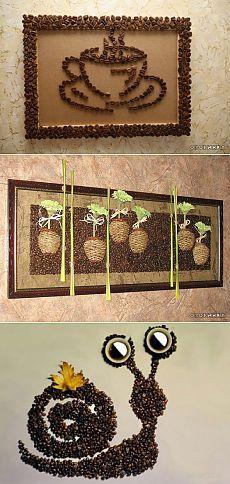 Mãos Ofícios - Idéias artesanato feito a partir de grãos de café com as mãos (35 fotos)