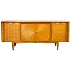 French Palatial Blonde Mahogany Sunburst Inlaid Sideboard
