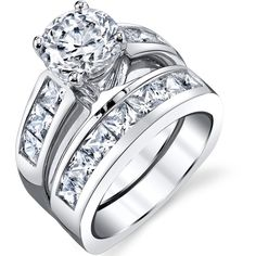 Oliveti Sterling Silver Cubic Zirconia Bridal Set Engagement Ring ($55) ❤ liked on Polyvore featuring jewelry, rings, white, wide band rings, round engagement rings, sterling silver engagement rings, cubic zirconia wedding rings and bridal rings