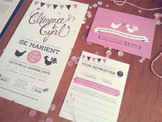 Un joli faire-part champêtre, bohême, rose et noir, ferme, campagne, nature. Wedding invitation, farm, barn