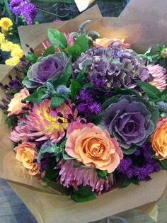 Oranges, pinks and dusty purples.looks nicer than it sounds! Fake Flowers, Summer Flowers, Amazing Flowers, Fresh Flowers, Silk Flowers, Beautiful Flowers, Exotic Flowers, Purple Flowers, Beautiful Flower Arrangements