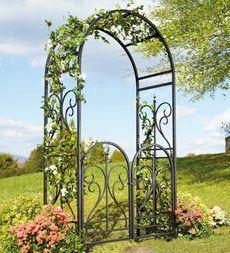 Elegant Steel Scroll Finial Garden Arbors