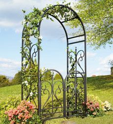 Elegant Steel Scroll Finial Garden Arbors