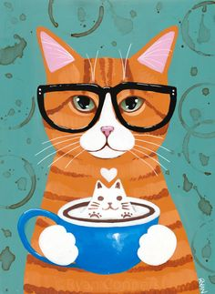 Ginger Kitty With Catpuccino Original Coffee Cat Folk Art Painting Ginger Kitty With Catpuccino Original Coffee Cat Folk Art Painting Jule Art 038 Illustration Ginger Kitty With Catpuccino Original Coffee Cat nbsp hellip art Painting Art And Illustration, Art Illustrations, Frida Art, Photo Chat, Cat Wallpaper, Cat Colors, Ginger Cats, Here Kitty Kitty, Cat Drawing