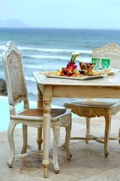 Eating on the patio with an ocean view
