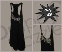 Black Beaded Singlet  Size:10-12  Price: $5