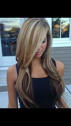 my summer Hair Color - Balayage blonde highlights Long Layered Haircuts, Haircuts With Bangs, Layered Hairstyles, Straight Hairstyles, Asymmetrical Hairstyles, Girl Haircuts, Medium Hairstyles, Hair Color Balayage, Blonde Balayage