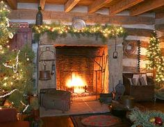 Love the fireplace! Primitive Christmas Decorating, Cabin Christmas, Christmas Fireplace, Christmas Mantels, Country Christmas, Simple Christmas, Cowboy Christmas, Xmas, Christmas Christmas