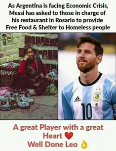 Homeless People, Soccer Stars, Messi, Free Food, Leo, Baseball Cards, Face, The Face, Lion