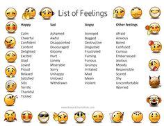 Znalezione obrazy dla zapytania feelings and emotions list