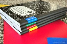 Organizing Notebooks : use different colored tapes to correspond with the different color of folders.