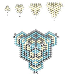 треугольник из бисера, как плести треугольник из бисера, треугольник из бисера схема, кулон из бисера схема, браслет из бисера