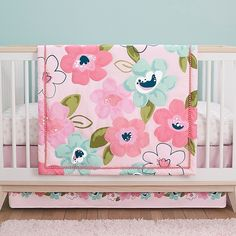 Transform your nursery into a soothing place with the One World Blossom Bedding Set by Just Born. Featuring an adorable multicolor floral print, this sweet design includes a comforter, crib sheet and crib skirt. Girl Crib Bedding Sets, Pink Bedding, Comforter, Beds For Kids Girls, Baby Girls, Butterfly Nursery, Disney Nursery, Crib Skirts, Nursery Themes