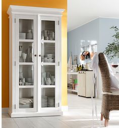 Keep your fine china on display with the Halifax Mahogany Double Vitrine. This vitrine features glass paneled double doors for easy and beautiful displays. Kitchen Furniture, Home Furniture, Danish Furniture, Space Furniture, Double Glass Doors, Rustic White, Decor Interior Design, Storage Spaces, Painted Furniture