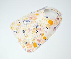 "Toddler Bib 10""x 17""  1yr-3+ yrs  Modern Girl Bib, Large Toddler Bib, Modern flower bib, floral,yellow, pink, gold, XL bib,100% cotton by TextileTrolley on Etsy"