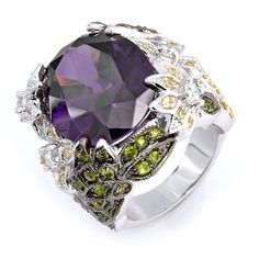 Bling Jewelry Spring Garden Citrine Peridot Amethyst Color CZ Cocktail Ring