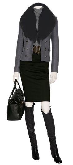 Burberry Jacket, Valentino Bag, Donna Karan Skirt... Love it, want it!