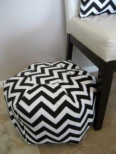 18 Ottoman Pouf Floor Pillow black white zig zag by aletafae, $80.00