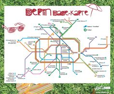 The Berlin swimming map shows you lakes and swimming pools easily accessible by public transport. ☀ Cool off with the S-Bahn and U-Bahn in the Berlin summer. Cities In Germany, Berlin Germany, Lakeside Beach, Visit Berlin, Berlin City, Berlin Berlin, Berlin Brandenburg, S Bahn, Central Station