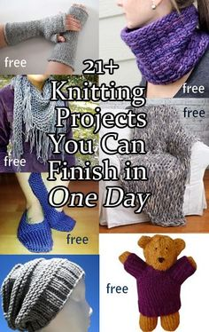 Quick Knitting Patterns you can finish in one day, many free patterns