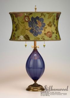 12f4c07a2c2 Magnificent Kinzig Creation Table Lamp with Silk Shade Hand Blown Glass  Base