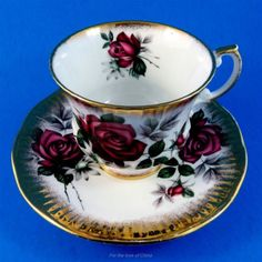 Stunning Deep Red Rose with Gold Border Elizabethan Tea Cup and Saucer Set