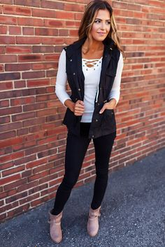 Black Drawstring Hooded Vest - Dottie Couture Boutique