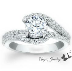 1.60 Ct. Round Cut Diamond Engagement Ring on 14K by AnyeJewelry