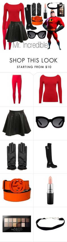 """Mr. Incredible~ DisneyBound"" by basic-disney ❤ liked on Polyvore featuring Y-3, M&Co, Pilot, Karen Walker, Gucci, MAC Cosmetics and Maybelline"