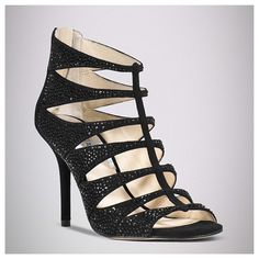"""Michael Kors Mavis Caged Sandals You'll love how sexy and stylish this caged style will make you look. The Mavis evening sandals have a 3-1/2"""" covered heel, leather upper and black rhinestone accents throughout - true to size 8 - price is FIRM Michael Kors Shoes Sandals"""