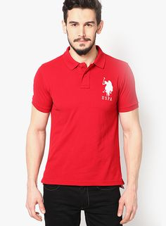 Buy U.S. Polo Assn. Red Slim Fit Polo T Shirt for Men Online India,