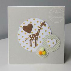 Kartka z żyrfą dla dziecka z okazji urodzin Handmade, Hand Made, Handarbeit