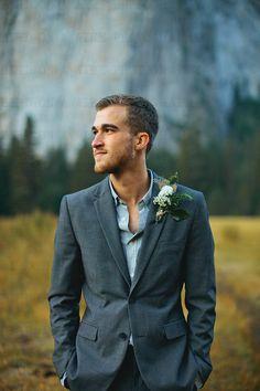 Handsome Groom from California Wedding. Yosemite Valley.