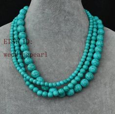 turquoise necklace,triple strand turquoise bead necklace, wedding necklace,statement necklace,6mm,8mm,12mm turquoise necklaces,bridesmaid