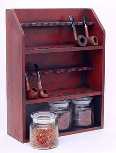 Pipe Accessories Two Cousins Medium 12 Pipe Stand with 3 Tobacco Jars (Red) Accessories at Smoking Pipes .com