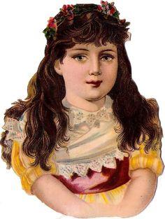 Oblaten Glanzbild scrap die cut chromo Kind child enfant lady head portrait