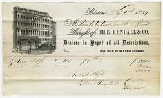 Invoice from Rice, Kendall, & Co. Paper Dealer of Boston, Massachusetts to Perkins Institution.  Invoice for  paper from 1859. Visit the Perkins Archives Flicker page: http://www.flickr.com/photos/perkinsarchive/collections/
