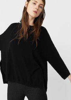 Bawełniany sweter z rozcięciami - Kardigany i swetry dla Kobieta | MANGO Polska
