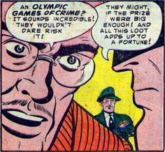 """Panel from """"The Olympic Games of Crime!"""" inBatman#82 (March 1954), script by Bill Finger, pencils and inks by Dick Sprang, letters by Pat Gordon"""