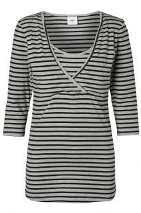 Sofia 3/4 Stripe Grey Nursing T-Shirt Discreet Breastfeeding