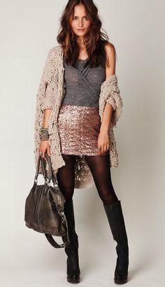 Sequin skirt, black opaque tights, knee boots